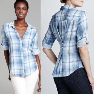 Bella Dahl Double Sided Blue White Plaid Shirt M